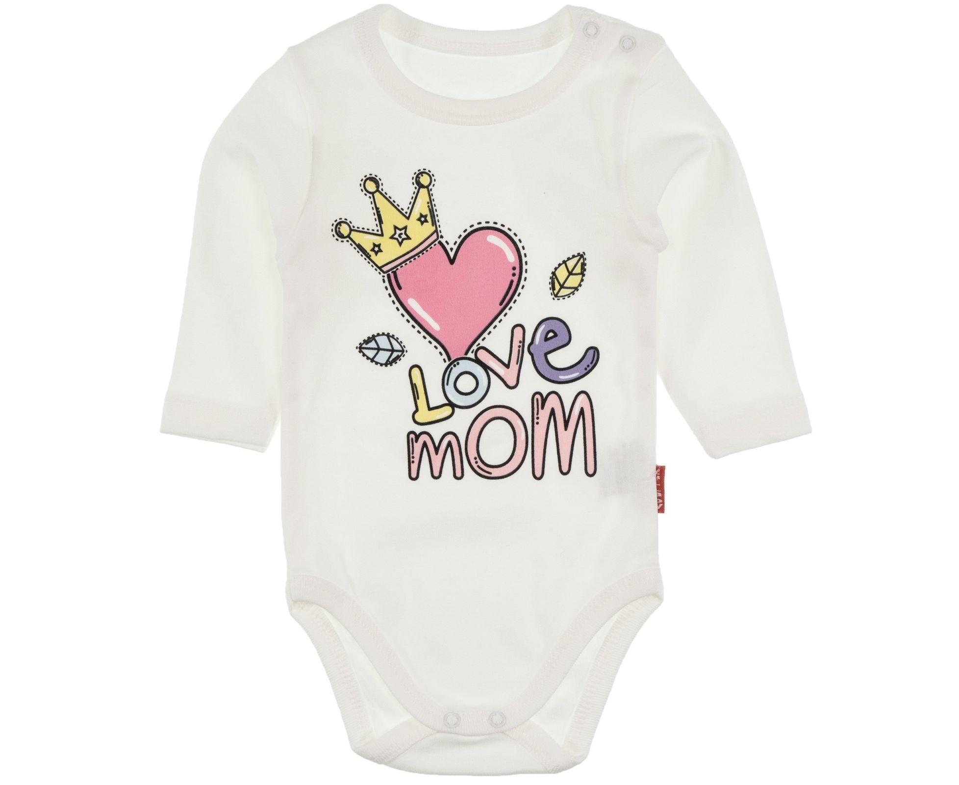 Ολόσωμο φορμάκι με μακρύ μανίκι «Love Mom»